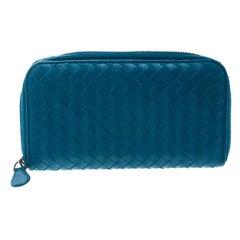 Bottega Veneta Blue Intrecciato Leather Zip Around Long Wallet