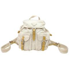 Prada Double Pocket 867645 Beige Nylon Backpack