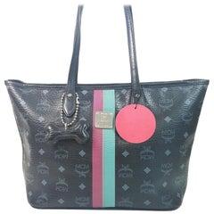 MCM Monogram Visetos Liz Tote 867570 Black Coated Canvas Shoulder Bag