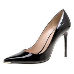 Barbara Bui Black Patent Leather Metal Pointed Toe Pumps Size 39