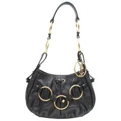 Saint Laurent Ring Zip Hobo 867459 Black Leather Shoulder Bag
