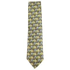 Ermenegildo Zegna Blue Green Beige Leaves Leaf Patterned Printed Tie Eztty17