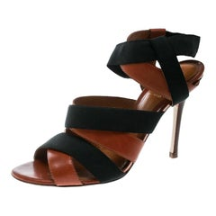 Fendi Brown Leather And Black Elastic Strappy Sandals Size 40