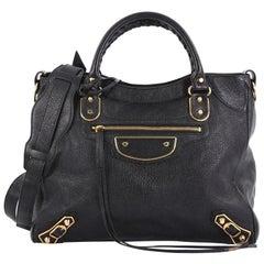 Balenciaga Velo Classic Studs Metallic Edge Handbag Leather