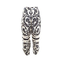 Chloe Monochrome Floral Printed Silk Tapered Pants M