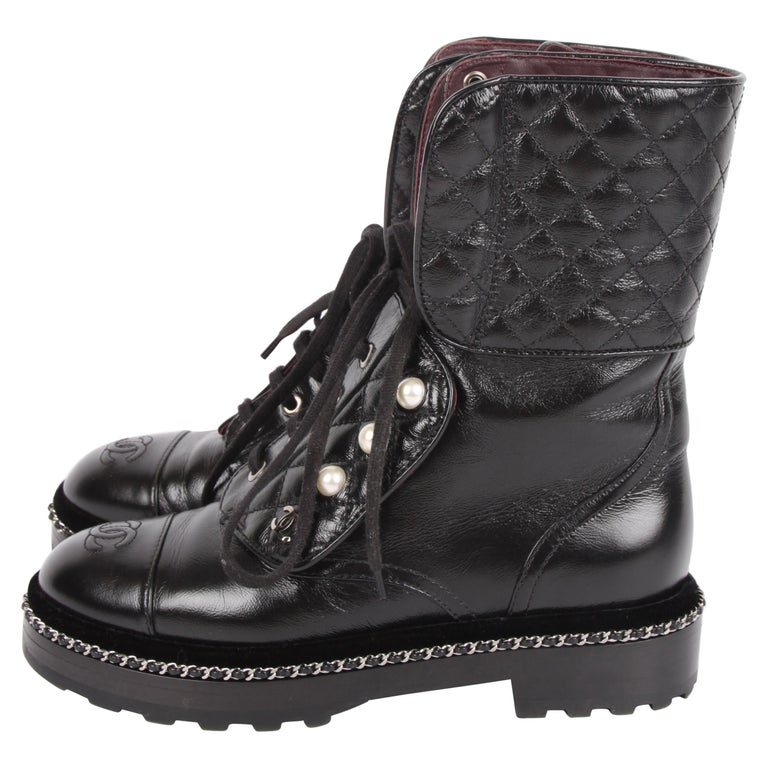 Chanel Cc Combat Boots Black At 1stdibs