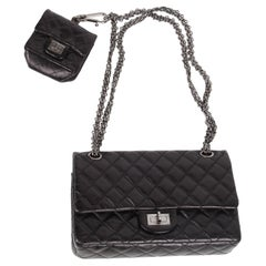 Chanel 2.55 Reissue Double Flap Bag with Mini Pochette - black