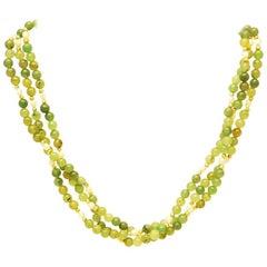 Jade necklace, three rows