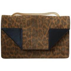 Saint Laurent Betty Leopard-Print Chain Shoulder Bag
