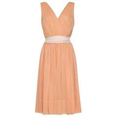 Minx Modes 1950s Peach Silk Crepe Dress