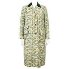 1950s Botanical Illustrations Coat with Green Velvet