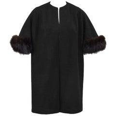 1950s Black Mini Opera Coat with Fur Trim