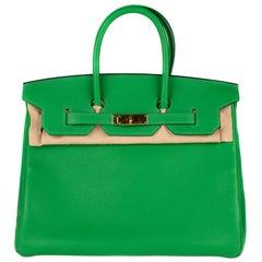 Hermes Birkin35cm Togo Bamboo Green Leather Bag