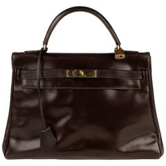 Hermes Kelly  Browm Box Leather Vintage Bag
