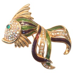 Trifari Crystal Enamel Fish Brooch in Box circa 1997