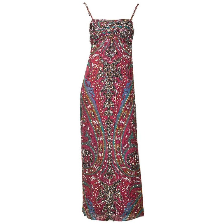 Galanos  Paisley Pattern Beaded Gown For Sale