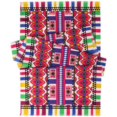 ETRO Multicolor Geometric Tribal Print Silk Fringe Oblong Scarf
