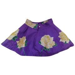 1980s Versace Yellow Rose Printed Skater Skirt
