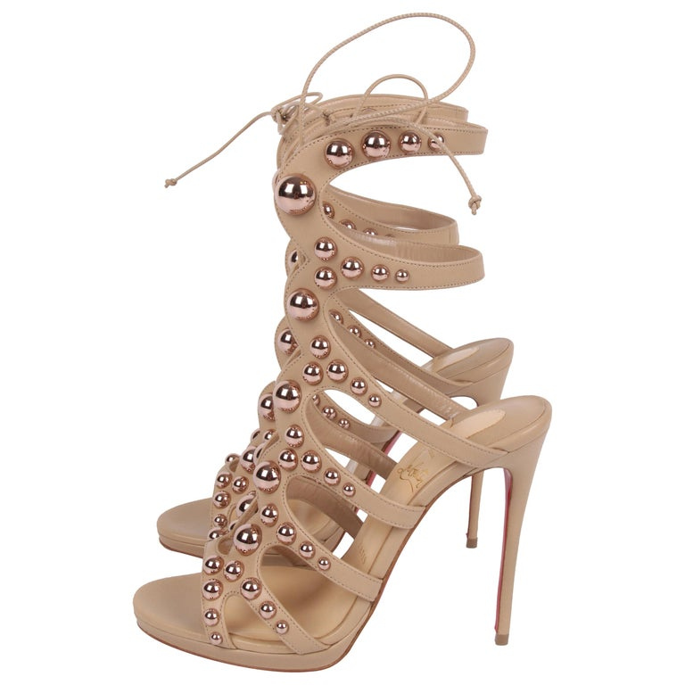 Louboutin Amazoubille Leather Stud Sandals - beige For Sale