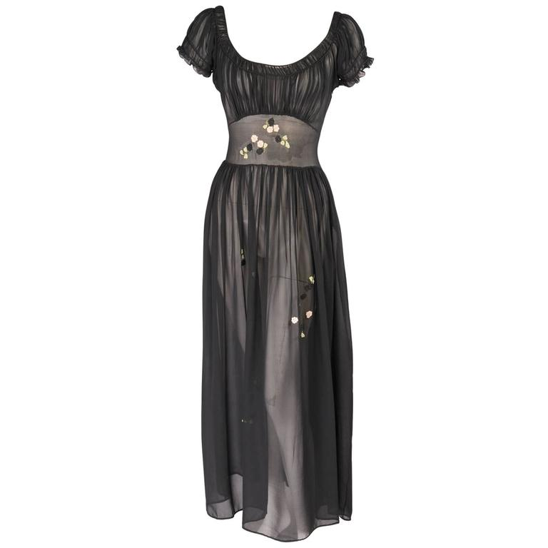 1930's Sheer Silk Chiffon Dress with Floral Appliques For Sale