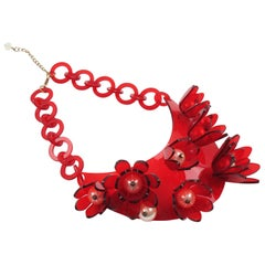 Italian Designer Transparent Red Lucite Bib Necklace Huge Flowers and Pearl