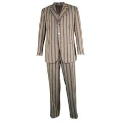 Thierry Mugler Men's Vintage Brown & Blue Striped Linen Two Piece Suit, 1990s