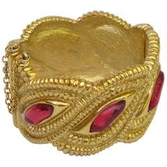 Jean Louis Scherrer Paris Gilt Metal Jeweled Clamper Bracelet Red Cabochon