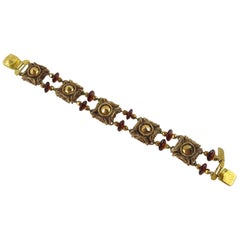 French Designer Henry Perichon Talosel Resin Link Bracelet with Glass Beads