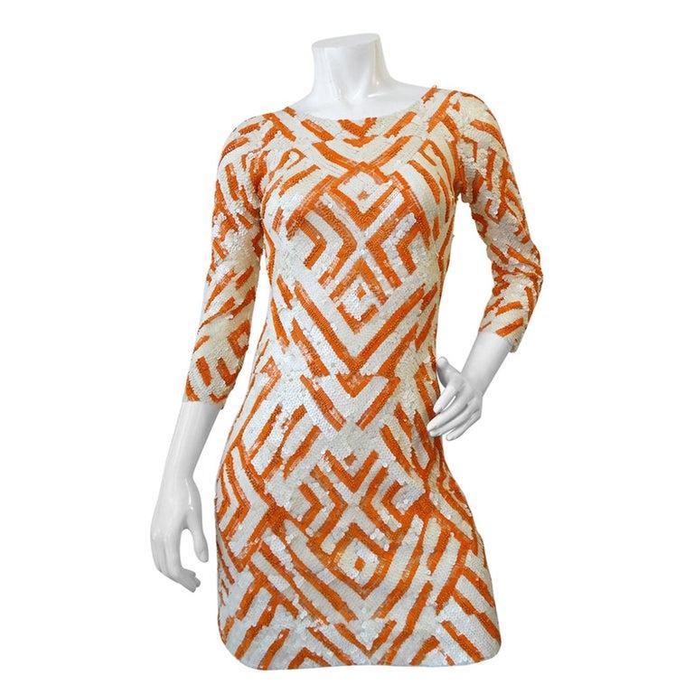 b2bc70e6 Farah Khan Geometric Op-Art Sequin Dress For Sale at 1stdibs