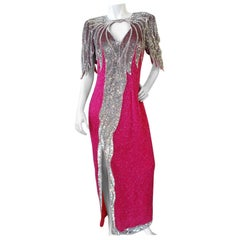 Tan-Chho 1980s Beaded Hot Pink Gown