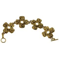 French Designer Henry Perichon Geometric Gilt Bronze Modernist Link Bracelet
