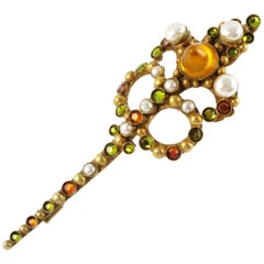 French Designer Henry Perichon Gilt Bronze Poured Glass Cabochon Pin Brooch