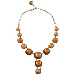 Line Vautrin School Honey Amber Talosel Resin Link Necklace