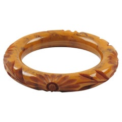 Bakelite Bracelet Bangle Apple Cider and Black Marble Deep Floral Carving