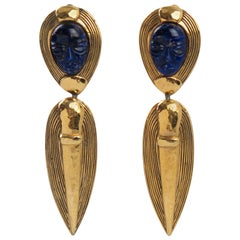 Guy Laroche Paris Gilt Metal Clip-on Earrings Dangling Carved Lapis Glass Stone