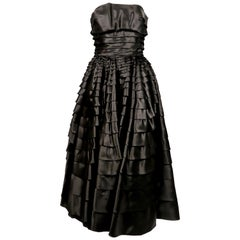 1990's JOHN GALLIANO black ruffled strapless dress