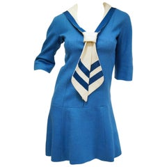 1960s Jean Muir Blue and White Sailor Dress
