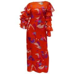 1970s Red Geometric Print Maxi Dress with Flamenco Ruffle Sleeves