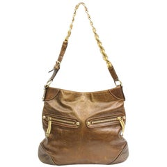 Gucci Chain Hobo 867392 Brown Leather Shoulder Bag