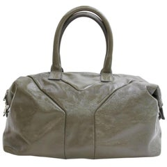 Saint Laurent Duffle Easy Y Boston 867353 Olive Patent Leather Weekend/Travel Ba