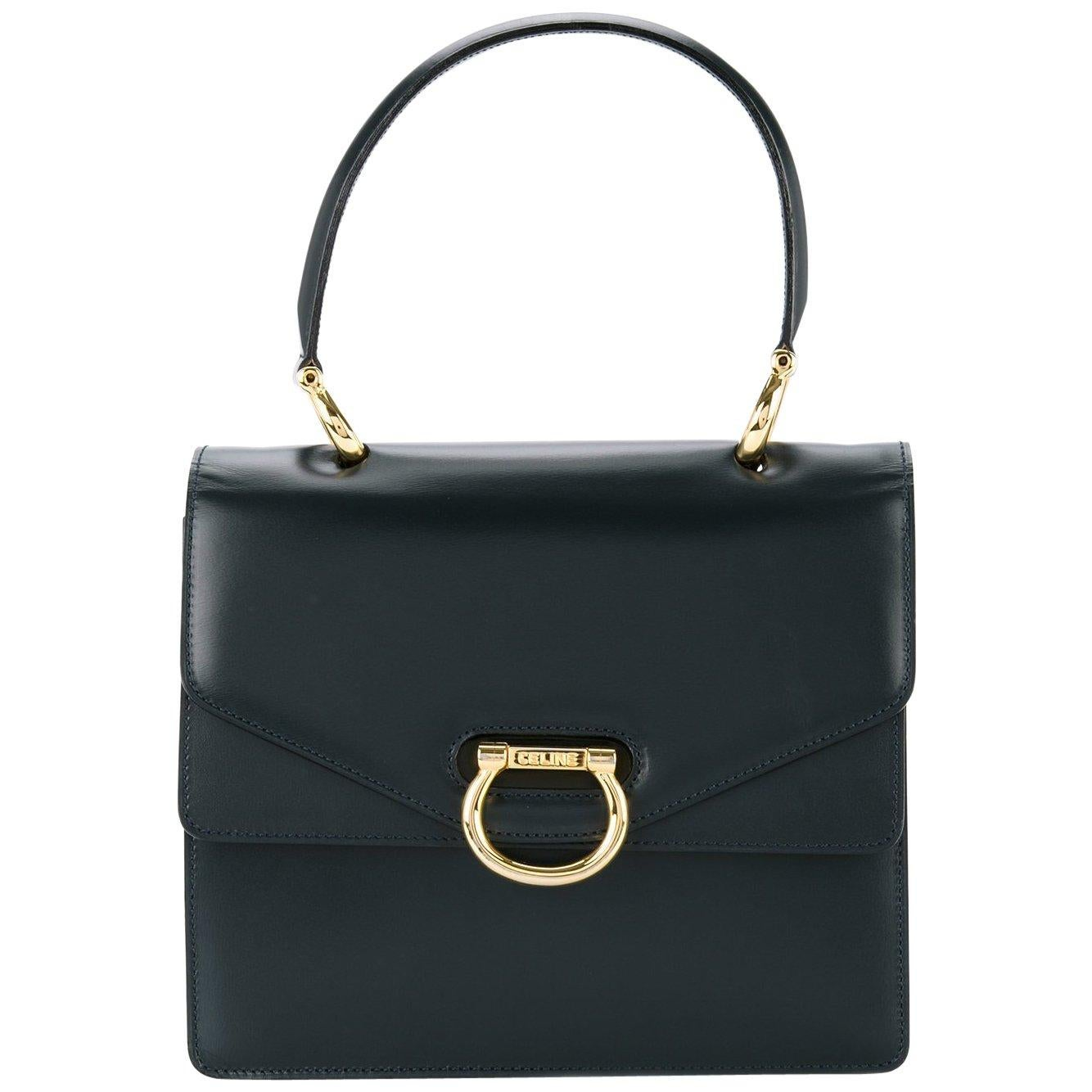 Celine Black Leather Toggle Kelly Style Evening Top Handle Satchel Bag