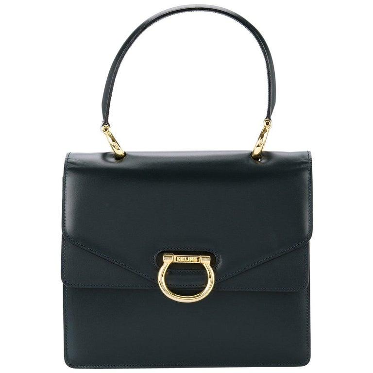 Celine Black Leather Toggle Kelly Style Evening Top Handle Satchel Bag For Sale