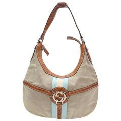Gucci Monogram Web Reins Hobo 868166 Brown Canvas Shoulder Bag