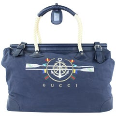 Gucci ( Rare ) Nautical Rope Duffle 222754 Navy Blue Canvas Weekend/Travel Bag