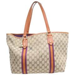 Gucci Jolicoeur Monogram Web Sherry Charm 869682 Brown Canvas Tote