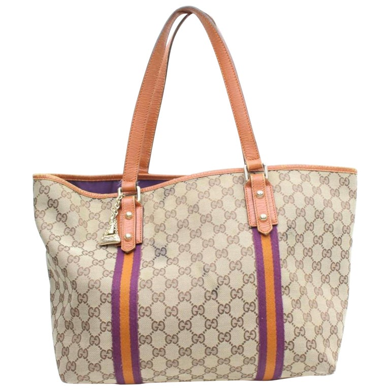 37aeb8ac3115 Gucci Jolicoeur Monogram Web Sherry Charm 869682 Brown Canvas Tote For Sale