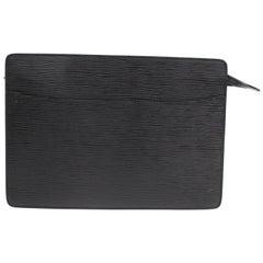 Louis Vuitton Pochette Noir Homme 868784 Black Leather Clutch