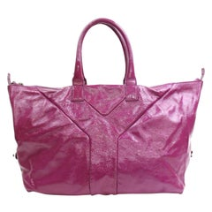 Saint Laurent Easy Extra Large Y Boston Convertrible 868325 Fuchsia Leather Tote