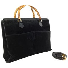 Gucci Double Pocket Bamboo 2way Tote 868067 Black Suede Leather Shoulder Bag