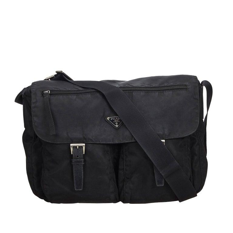 7402f55963d6 Prada Black Nylon Messenger Bag at 1stdibs